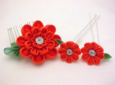★ Fresh Orange ★ Scarlet flowers headpiece set kanzashi hair comb hair sticks