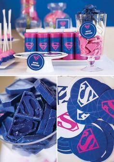 Pink Blue Supergirl Birthday Party favors #babyshowerideas4u #birthdayparty #babyshowerdecorations #bridalshower #bridalshowerideas #babyshowergames #bridalshowergame #bridalshowerfavors #bridalshowercakes #babyshowerfavors #babyshowercakes