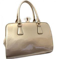 Patent Leather Tote Handbag with Diamond Snap Closure