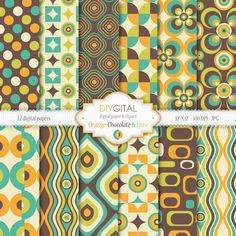 Orange, Chocolate and Lime Retro Digital Paper Set - Retro Patterns- 12 Digital Papers - Retro geometric patterns backgrounds - 70s Style