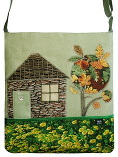 The Little House and Autumn Tree OOAK Bag Ready to Ship by ifONA