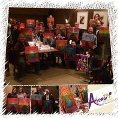 A great group! Happy 40th Geremy :)  More pics later... #paintandsip#metropolitancafe#birthday#artists#party#paintsip