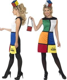 Ladies Rubiks Cube 80s Retro Puzzle Fancy Dress Costume + Hat + Bag Size 8-18