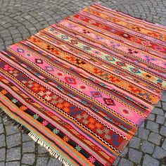 pink Kilim rug with stripes, hand made jijim carpet, turkish kilim Area rug, 7,4 x 5,6' vintage Organic carpet, Bohemian Ethnic carpet
