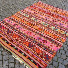 pink Kilim rug with stripes, hand made jijim carpet, turkish kilim Area rug, 7,4 x 5,6' vintage Organic carpet, Bohemian Ethnic carpet