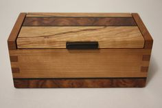 Handmade Finger Joint Cherry, Bubinga and Ebony Wood Hidden Hinge Jewelry or Keepsake or Tea Box with Removable Felt Bottom $40.00
