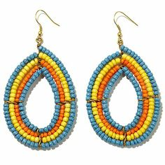 "BAJALIA ""Seema"" Maasai-Style Bead Teardrop Earrings"