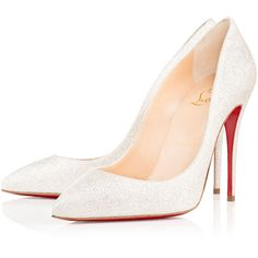 PIGALLE FOLLIES GLITTER MINI 100 Ivory Glitter - Women Shoes -... ($590) ❤ liked on Polyvore featuring shoes, christian louboutin, heels stilettos, summer footwear, ivory shoes and high heel stilettos