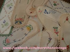 vintage embroidered sandwich tray doilies - just beautiful