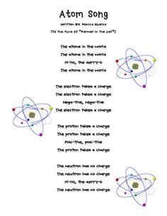FREE This is a cute song I sing with my class to help them remember the parts of an atoms and the differences between protons, neutrons, and electrons. As an extension activity, I have the students take a classic tune/song and rewrite the lyrics using their knowledge of science. 4-6 FREE