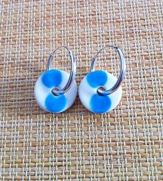Blue Dot Porcelain Earrings with Sterling Silver by ByeByeBelle