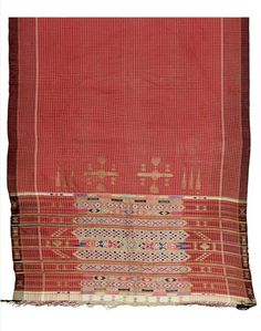 Africa | Shawl from Djerba, Tunisia | Cotton, silk and metallic thread; with a central pattern on white squares on a brick-red background, the lower part richly embroidered with horizontal bands of abstract decoration worked in metallic threads with thin stripes