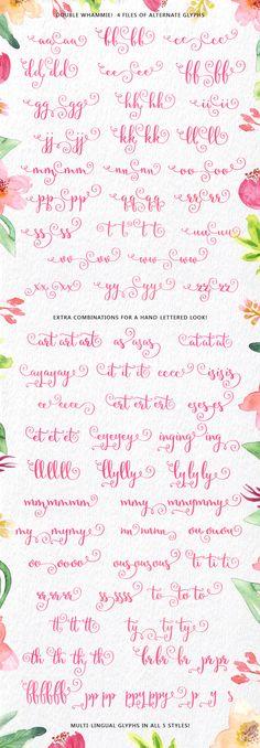 Secret Garden Hand made Script font - alternate additional characters
