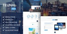 Teunal  Multi-Purpose Parallax PSD Landing Page by enFusionThemes  Teunal is a Modern Multipurpose Parallax PSD Landing Page. This Template is Suited for any type of website, personal or business