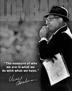 new products 12e5a f3115 Vince Lombardi Measure of Who We Are Quote Sports Tin Sign at  AllPosters.com Motivational