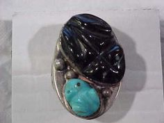LARGE OLD PAWN STERLING SILVER, ONYX & TURQUOISE NATIVE AMERICAN RARE FROG RING | Jewelry & Watches, Ethnic, Regional & Tribal, Native American | eBay!