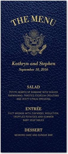 Passionate Passport - Signature White Menu Cards - Fine Moments - Navy - Blue : Front