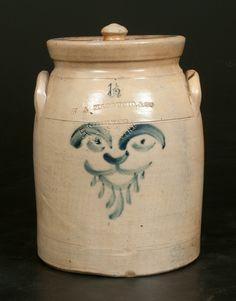 Rare 1 1/2 Gallon Lidded Stoneware, W.A. Macquoid...with cobalt blue lion face decoration...circa 1870.