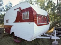 """Rare 1955 Hanson Love Bug """"Sisters on the Fly"""" Prospect Vintage Travel Trailer I would redo the interior"""