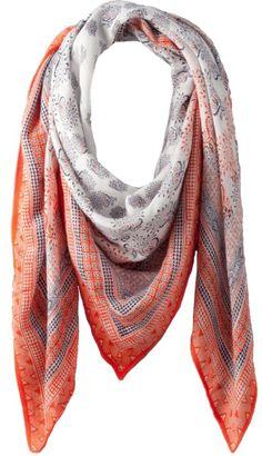 foulard en lin blanc et orange imprimé, promod