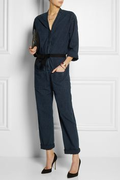 Étoile Isabel Marant | Tadia belted cotton-chambray jumpsuit | Gianvito Rossi | Camnero suede pumps | Clare Vivier | Flat printed nubuck leather clutch