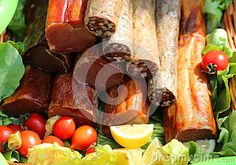 Smoked Roll Pork Muscles And Salami On Salad And Tomatoes Stock Photo - Image of eating, meat: 91968466 Tomatoes, Muscles, Vectors, Sausage, Rolls, Pork, Salad, Sign, Stock Photos