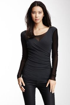 Ruched Side Surplice Top