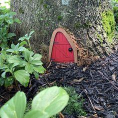 Fairy Door 'Iris' in Red Red Fairy door Fairy door | Etsy Fairy Dust, Fairy Tales, Hobbit Land, Fairy Doors On Trees, Tooth Fairy Doors, Drawing Quotes, Door Knobs, Gnomes, Fairies
