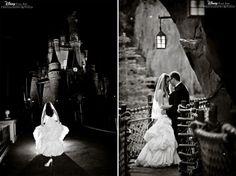 Pre-sunrise bridal portrait session at Magic Kingdom