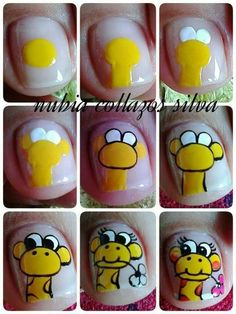 Nail Art Designs Videos, Cute Nail Art Designs, Feet Nails, My Nails, Animal Nail Art, Super Cute Nails, Nails For Kids, Nail Tutorials, Nail Manicure