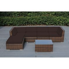 Ohana Outdoor Patio 6 Piece Mixed Wicker Conversation Set with Cushions , Patio Furniture