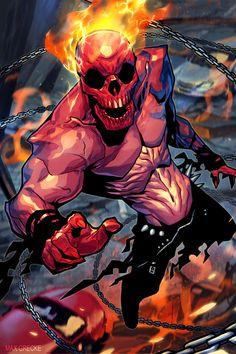 Ghost Rider by Max Grecke Comic Book Characters, Marvel Characters, Comic Character, Comic Books Art, Fantasy Characters, Comic Art, Marvel Comics Art, Marvel Heroes, Kon Bleach