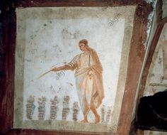 Man and flowers, century AD (fresco). Catacombe dei Giordani, via Salaria; Catacomb of the Giordani, Rome, Italy Classical Antiquity, Minoan, Historical Artifacts, Catacombs, Working Woman, Ancient History, Archaeology, Roman, Christian