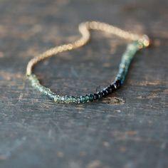 Ocean Sapphire Array Bracelet Premium Gemstone Ombre Blue Teal Green Handmade Jewelry