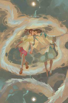 Fan art of Haku and Chihiro by Awanki. Spirited Away, Studio Ghibli. Studio Ghibli Art, Studio Ghibli Movies, Hayao Miyazaki, Art Manga, Anime Art, Chihiro Y Haku, Howls Moving Castle, Animation, Totoro