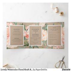 Shop Lovely Watercolor Floral Kraft All-In-One Wedding Tri-Fold Invitation created by PaperDahlia. Tri Fold Wedding Invitations, Wedding Invitation Design, Paper Dahlia, Botanical Wedding, Floral Illustrations, Romantic Weddings, Floral Watercolor, Wedding Details, Rustic Wedding