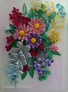 Картина панно рисунок Поделка изделие 8 марта Квиллинг Цветочная композиция и корзинки Бумажные полосы Ленты Мыло фото 13