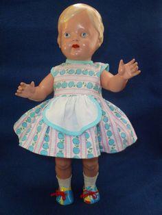 alte Puppe Celluloidpuppe Schildkröt Christel 34 gemalte Augen alte Kleidung   eBay