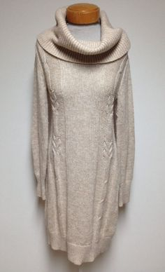 Moda International Victoria Secret Sweater Dress Large Beige Turtleneck Wool #ModaInternational #SweaterDress