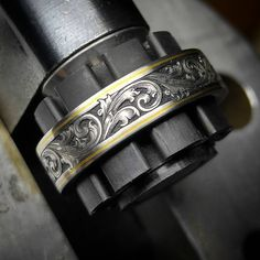 Going to California Stainless Steel Wedding Band gold wire inlay and relief engraving with fine single line point shading by yours… Engraved Jewelry, Engraved Rings, Wedding Men, Wedding Rings, Wedding Band Tattoo, Jewelry Rings, Jewelery, Silver Jewelry, Stainless Steel Wedding Bands