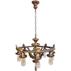 1920s Hammered Iron Fixture With Cast Brass Acanthus Leaf Details | From A  Unique Collection Of