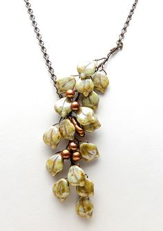 Green and Copper Beaded Necklace Green by CherylParrottJewelry, $68.95