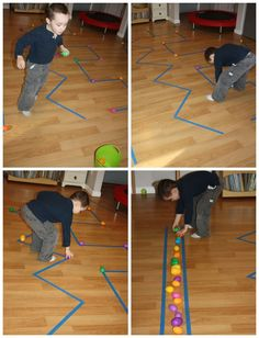 Proprioceptive sensory egg gathering race.  Gross motor activities for kids