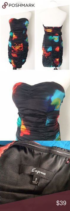 """EXPRESS Black blue silk Strapless Cocktail Dress Worn once. Size 2. 93% Silk 7% spandex. Fully lined. Boning in front to hold you in place. Side zipper. Length 28"""". Chest 14.5"""" before stretched. Express Dresses Strapless"""