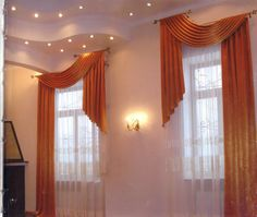Interesting way to treat a layered ceiling. #drapes #curtains #window_treatments