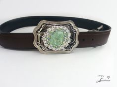 Western belt buckle March Birthstone Aquamarine by EyesofAnastasia