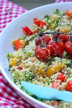 Cucinando e assaggiando...: Cous cous integrale con broccoli peperoni e pomodorini al forno