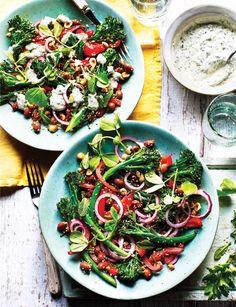 Charred broccoli, borlotti bean and hazelnut salad recipe - a hearty crunchy salad, perfect for an al fresco lunch or light vegetarian supper. Bean Salad Recipes, Vegetable Recipes, Vegetable Pizza, Vegetarian Recipes, Healthy Recipes, Easy Broccoli Salad, Charred Broccoli, Tenderstem Broccoli, Easy Family Meals