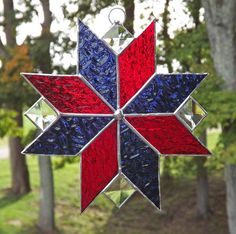 Stained Glass Quilt Star Suncatcher  Blue and by HillLillyDesigns, $20.00