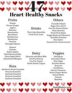 Healthy Diet 47 Heart Healthy Snacks - Looking for ways to live a healthier lifestyle? Print our list of 47 heart-healthy snack ideas to keep you on the right track. Heart Healthy Snacks, Healthy Drinks, Healthy Heart Tips, List Of Healthy Snacks, Foods For Heart Health, Eat Healthy, Heart Healthy Crockpot Recipes, Heart Healthy Breakfast, Healthy Lifestyle Tips